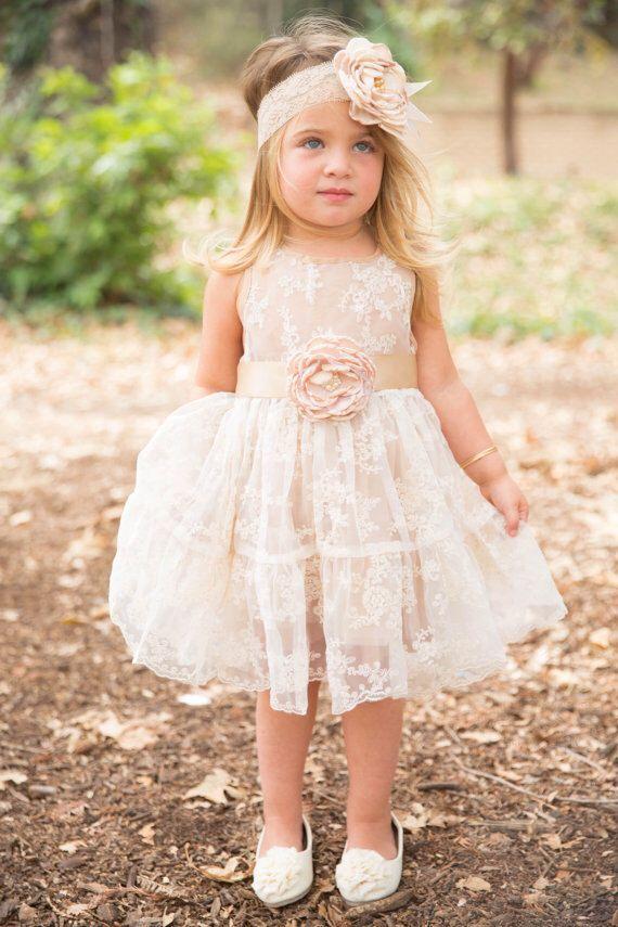 Flower girl dress, flower girl dresses, lace baby dress, rustic girl dress, lace…