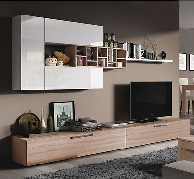 Ellwood 7 #piece module tv wall unit #living room furniture set #white on wood,  View more on the LINK: 	http://www.zeppy.io/product/gb/2/221924511140/