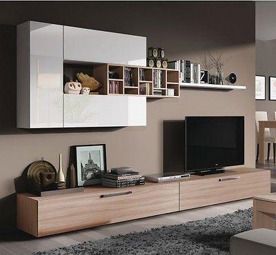 ellwood  piece module tv wall unit living room furniture set white on: furniture living room wall