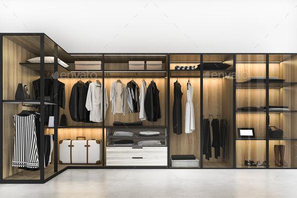 3d Rendering Minimal Scandinavian Walk In Closet With Wood Wardrobe In 2020 Wood Wardrobe Walk In Closet Walk In Closet Design