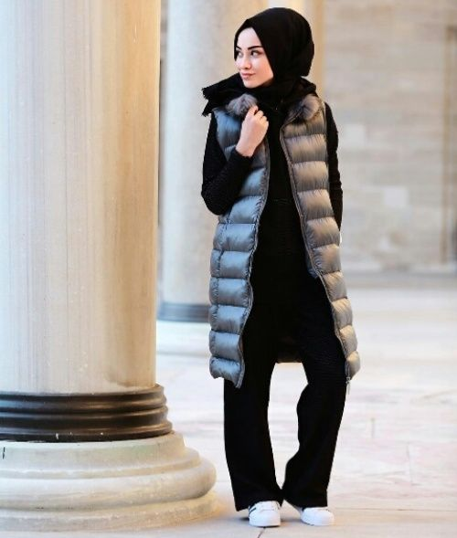 Puffy vest with hijab-How to be elegant hijabista – Just Trendy Girls