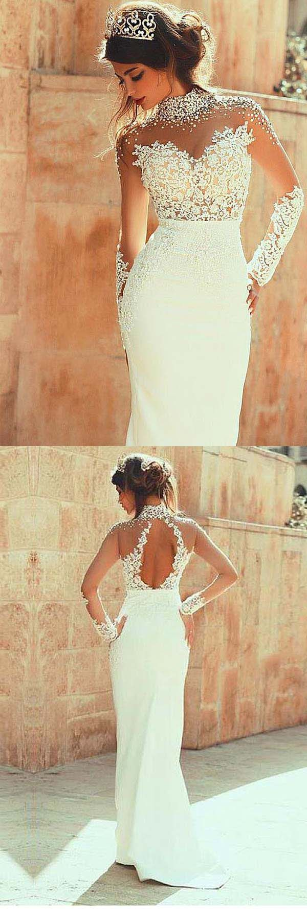 High Neckline Sheath Wedding Dresses With Beaded Lace Appliques WD191 #wedding #dress #mermaid #2018weddingdress #merimaiddress #pgmdress