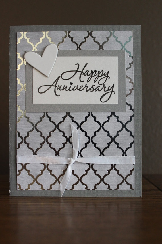 Silver Anniversary Card by OwlBeCreative on Etsy, $2.50