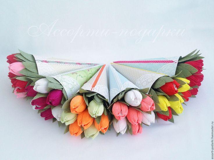 Купить Букет из конфет Тюльпаны в кульке - разноцветный, тюльпаны, тюльпан, тюльпаны из конфет, Сладкие букеты
