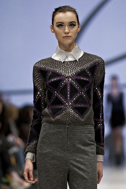 Line Knitwear F/W '12 | Suede triangles crocheted together with contrast yarn against grey