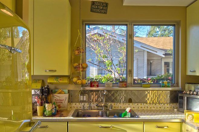 corrugated metal backsplash kitchen eclectic with aluminum windows transitional pendant lights