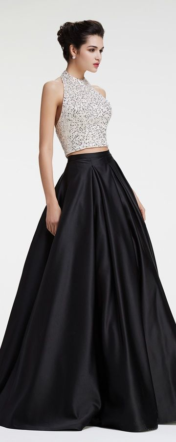 Two piece prom dresses Halter crystal beaded sparkly prom dresses ball gown pageant dresses black quinceanera dresses