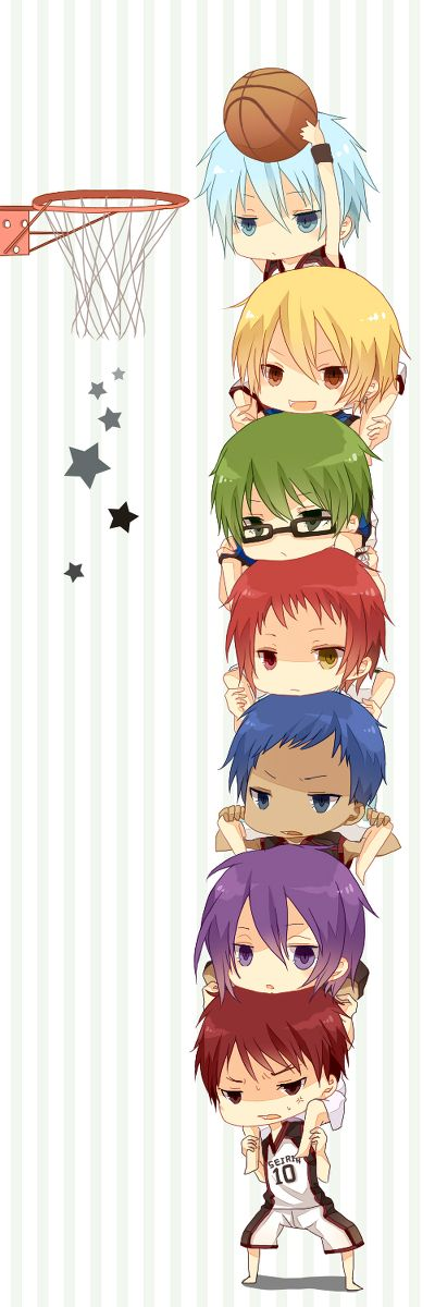 this is VERY CUTE, but, they wouldn't need all of them, because of murasakibara, and he is taller then the rest of them, and in this chibi he isn't!PFT xD