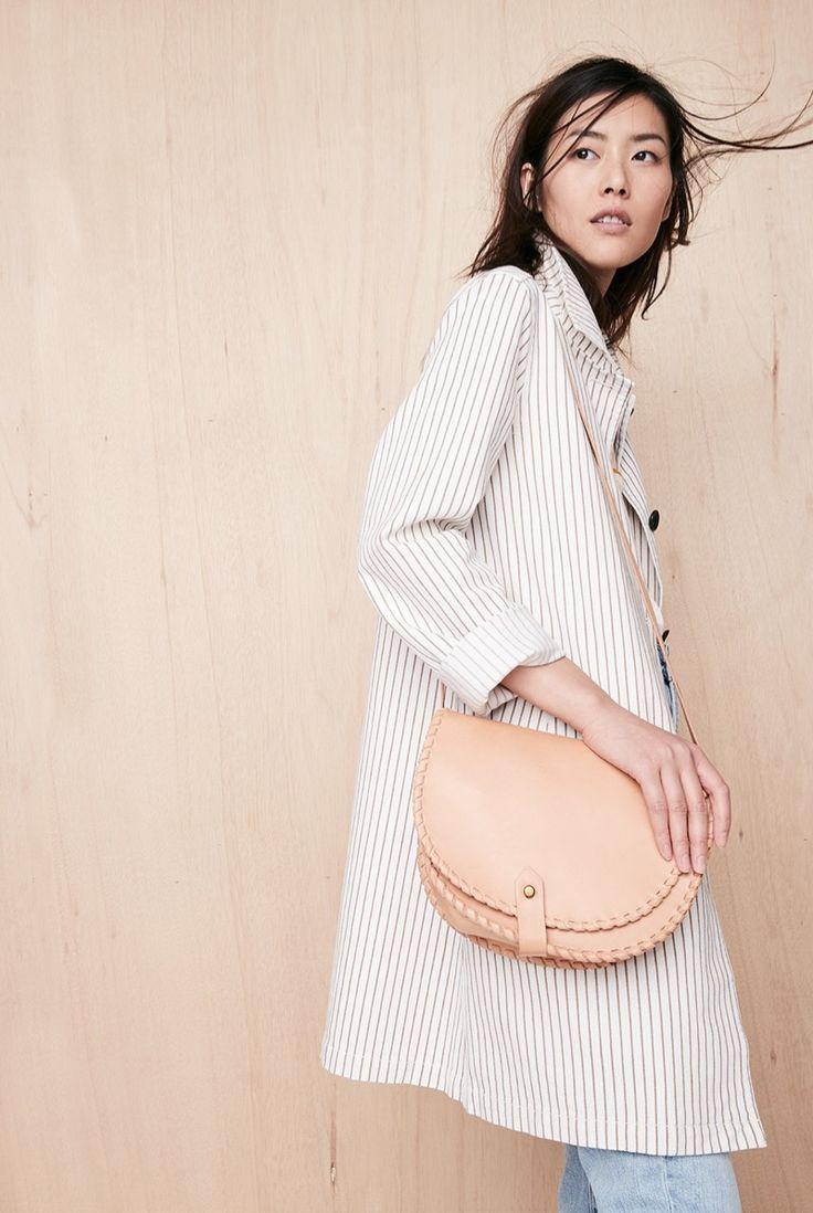 Madewell Striped Outpost Trench Coat and Whipstitch Saddlebag