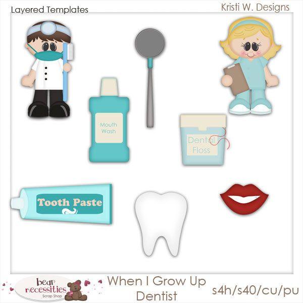 When I Grow Up Dentist Teeth Doctor Nurse Medicine Tooth PSD Templates by Kristi W.