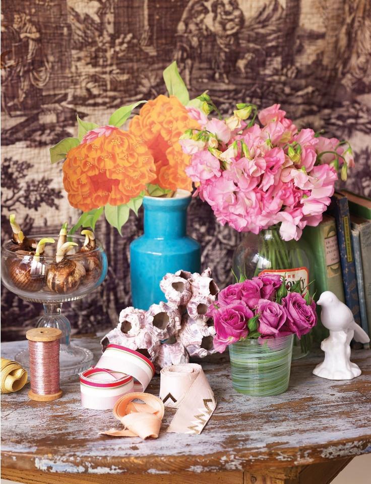 Sweet Paul Magazine - Spring 2012 - Page 72-73: Spring Flowers, Gorgeous Flowers, Flowers Arrangements, Paper Flowers, Orange Flowers, Sweet Paul Magazines, Sweet Peas, Spring 2012, Cut Flowers