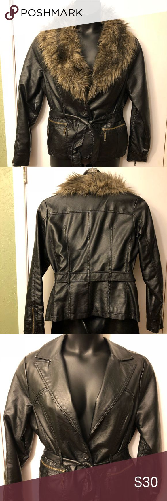 Ladies black leather jacket Faux black leather with removable faux collar and tie belt; lined with zip pockets Jou Jou Jackets & Coats Blazers