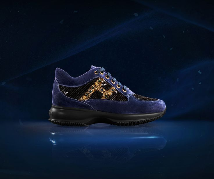 #HOGAN ATELIER Interactive SAPPHIRE: the exclusivity of a precious and refined stone in a cascade of bright beads and sequins on a background of blue velvet.