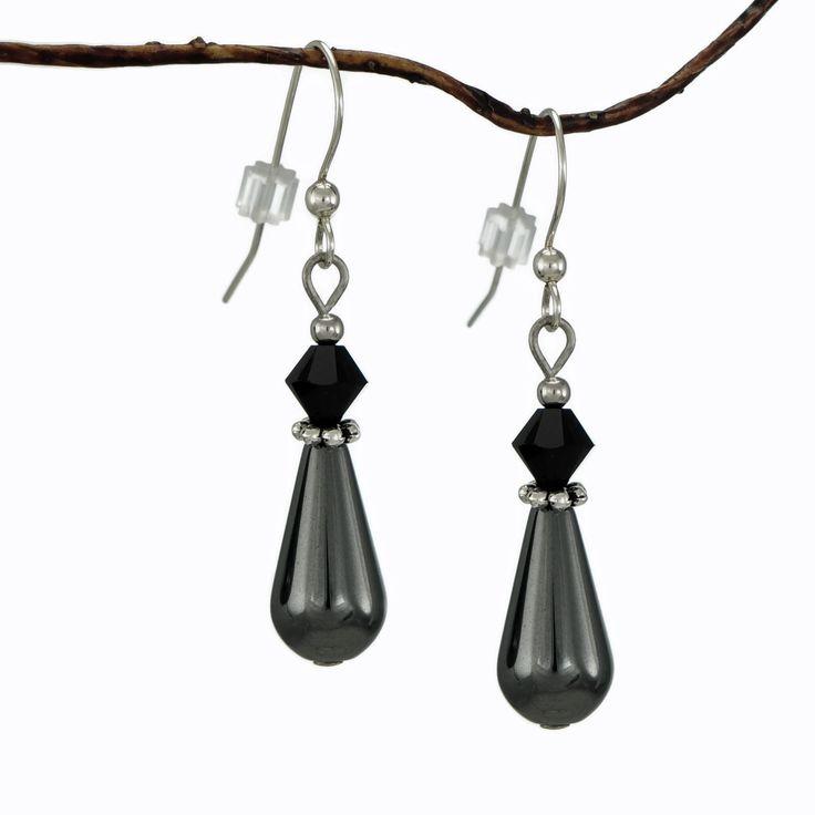 Jewelry by Dawn Hematite Teardrop Black Crystal Earrings by Jewelry by Dawn