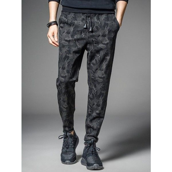 Casual Pocket Drawstring Camo Jogger Pants (47 BAM) ❤ liked on Polyvore featuring men's fashion, men's clothing, men's activewear and men's activewear pants