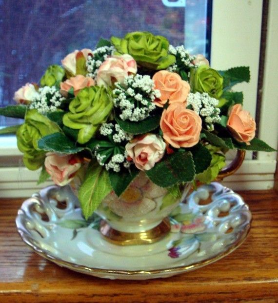 teacup flower arrangements | Tea Cup Floral Arrangement in a Antique Sterling China Tea cup and ...