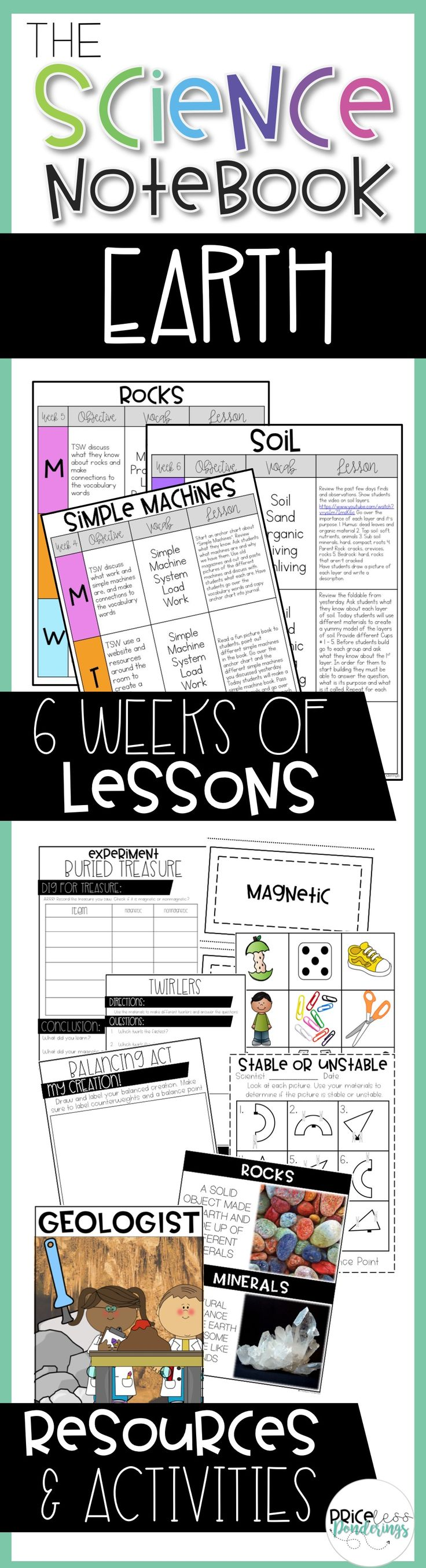 Easy to use lesson plans and resources to tech your students about Magnets, Balance and Gravity, Motion, Simple Machines, Rocks and Soil. This is a teacher time saver!