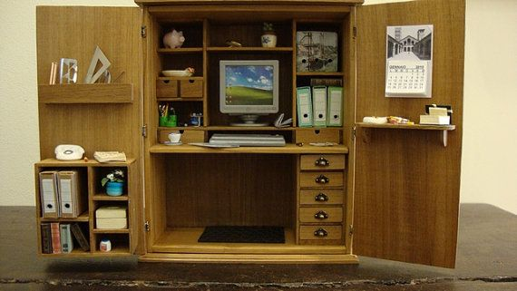miniature office in a cabinet by bagusitaly on Etsy, $300.00: Dollhouses Furniture, Minis Roombox, Inspiration Ideas, Dollhouses Minis, Minis Dollhouses, Miniatures Dollhouses, Miniatures Crafts, Miniatures Offices, Dollhouses Miniatures