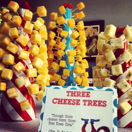 Dr. Suess baby shower ideas  This has the info on the favors, and the cards to put next to the food.