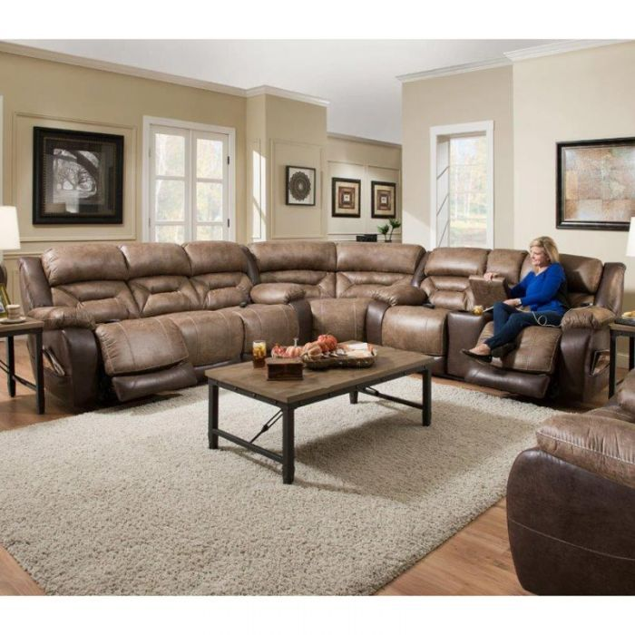 There S Room For Everyone On This Plush Reclining Sectional In