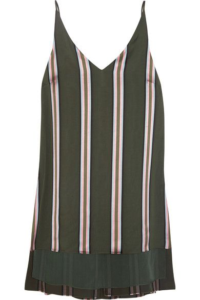 Adam Lippes - Striped Satin Top - Army green - US10