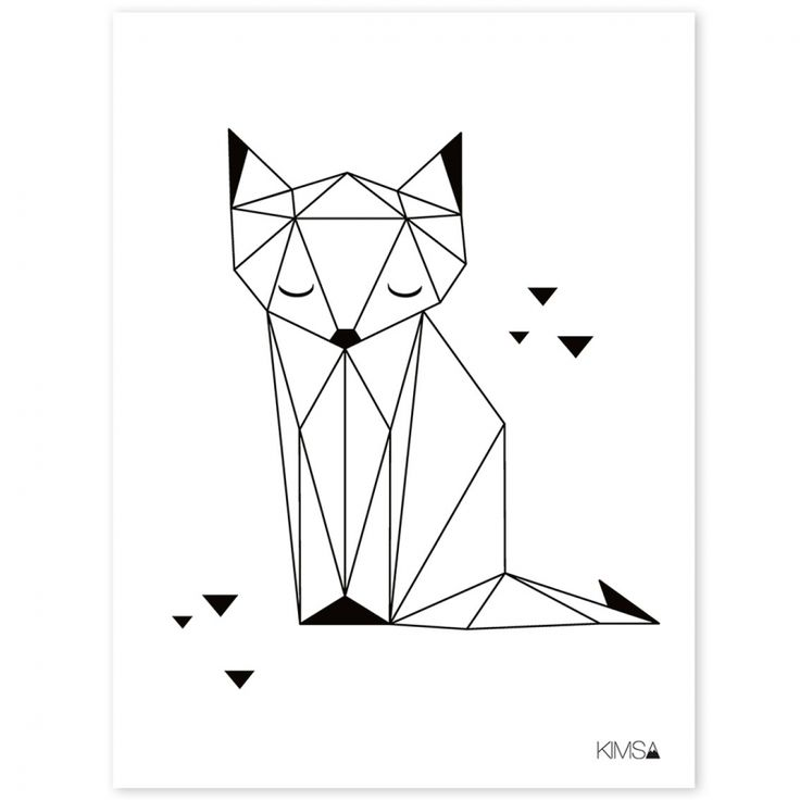 Le poster géométrique renard Origami play by Claudia Soria pour Lilipinso apporte une touche de modernité à une chambre d'enfant.