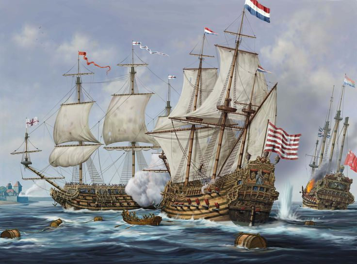 Naval battle between Dutch and English warships, Anglo-Dutch War