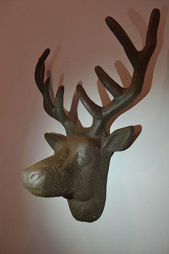 Aluminium stags head.