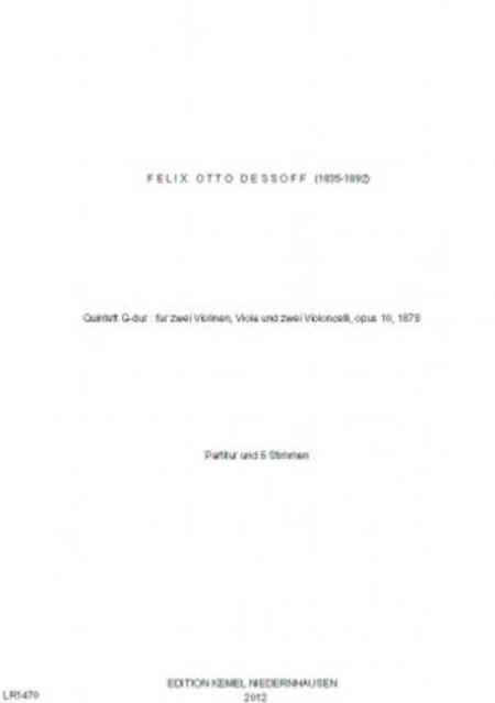 Quintett G-dur : fur zwei Violinen, Viola und zwei Violoncelli, opus 10, 1878