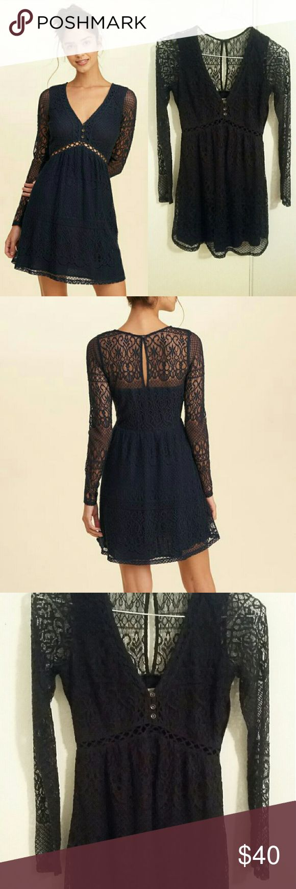 Long Sleeve V-Neck Lace Dress *FINAL/FIRM PRICE* * Please excuse my phone quality (using old phone currently), had to return my other one temporarily for repairs, so pictures aren't doing justice right now. :( - Navy blue color - Size 3 (juniors) - Delicate lace detailing - Side zipper - Gently used; worn out twice; good condition * Non-smoking home :) Hollister Dresses Long Sleeve