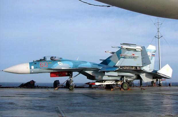 Su-33 on Admiral Kuznetsov aircraft carrier