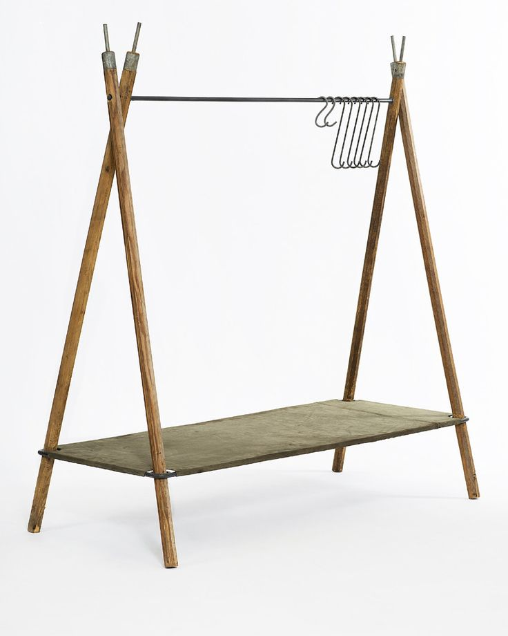 Composed of 4 vintage military-issue tent poles with a sturdy welded steel shelf covered in vintage military half shelters material. & 851 best Campsite stuff images on Pinterest | Wood Backyard and ...