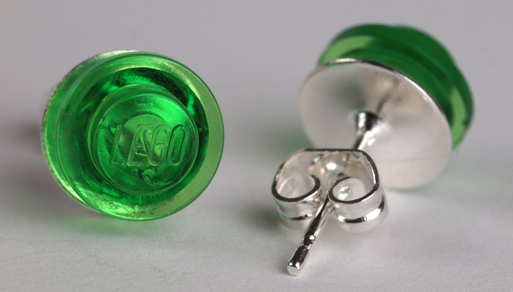 Green clear round LEGO stud earrings. £2.25, via Etsy.