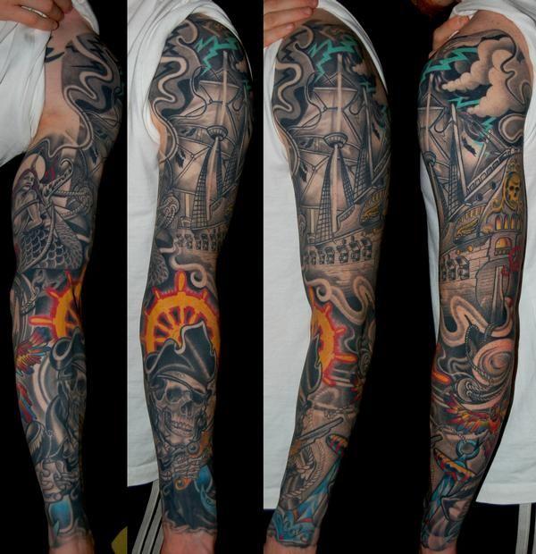 17 best ideas about skull sleeve tattoos on pinterest