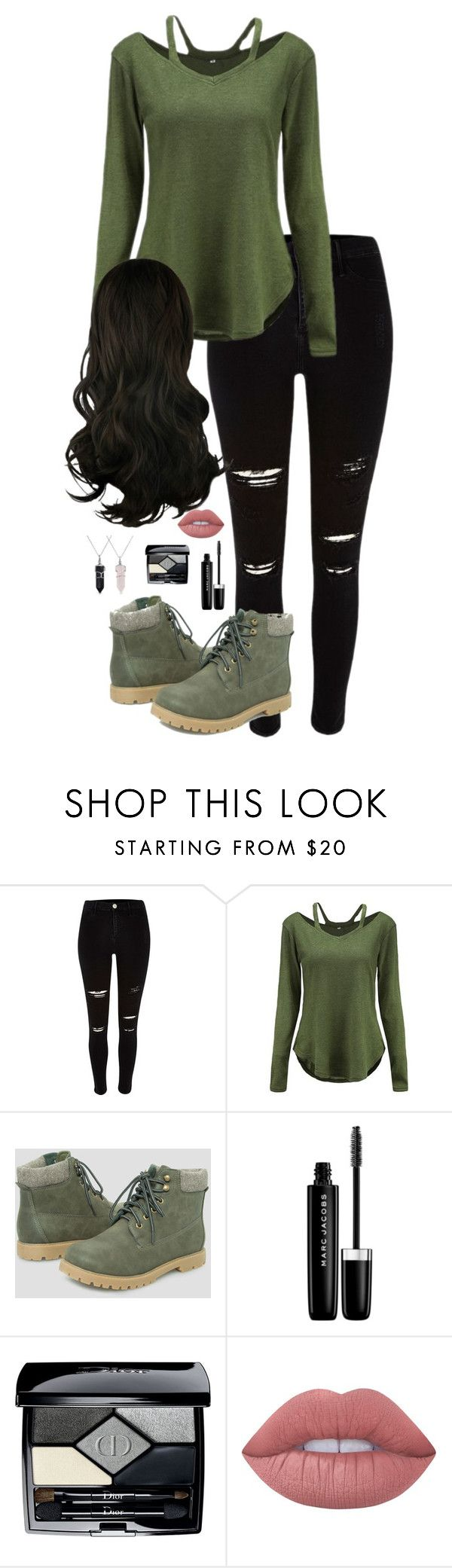 """Outfit 1 (Artemis)"" by lily-hollibaugh on Polyvore featuring River Island, Ashley Stewart, Marc Jacobs, Christian Dior, Lime Crime and Bling Jewelry"
