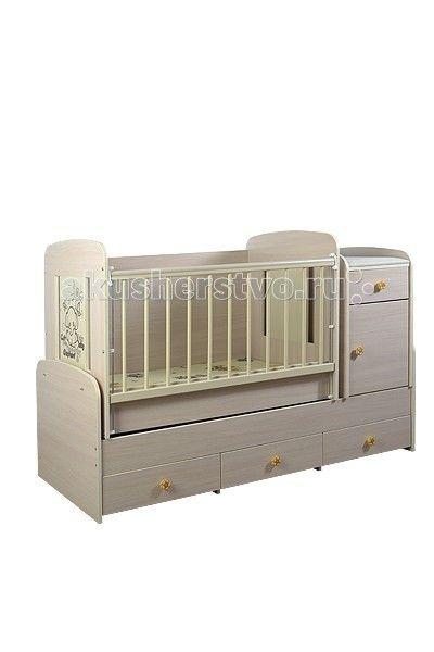 Кроватка-трансформер Glamvers Multy  Кроватка-трансформер Glamvers Multy  Кровать Multy 3 в 1 для детей от 0 до 14 лет. Кроватка трансформируется в подростковую кровать (размер 1600х700)+стол+комод.  В комплекте матрас(кокос+холлофайбер 8см)+пеленальный столик.  Особенности: кровать-трасформер 3 в 1,материал ЛДСП+бук в комплект входит - матрас+пеленальный столик маятниковый механизм качания решетка опускается- несколько положений  силиконовые накладки  два уровня положения ложа возможность…