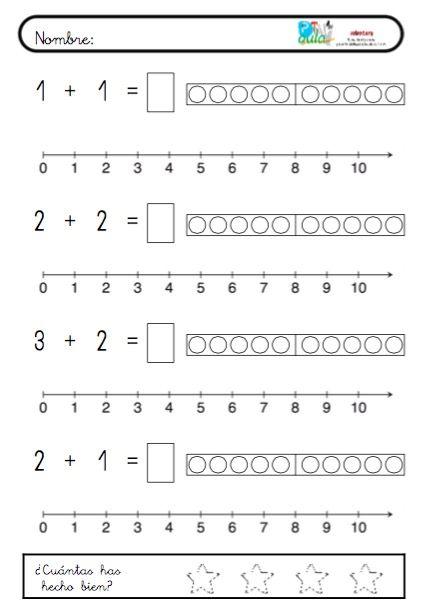 Seguimos trabajando la suma a niveles de iniciación. Este es un cuaderno de 10 páginas para iniciar a los alumnos en el uso de la recta numérica para sumar. Puede realizarse haciendo los saltos de ambos sumandos y viendo donde termina el último salto como en este caso: O saltando