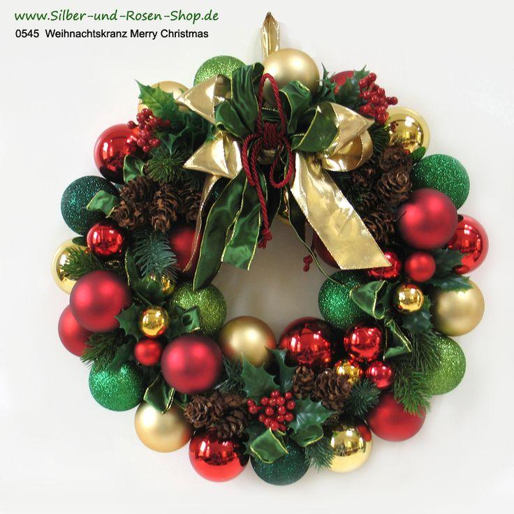 43 cm Durchmesser hat dieser Kugelkranz in traditionellen Weihnachtsfarben Rot, Grün, Gold mit Ilex. Schnell bestellen unter: http://www.silber-und-rosen-shop.de/Weihnachtskranz-Merry-Christmas-rot-gruen