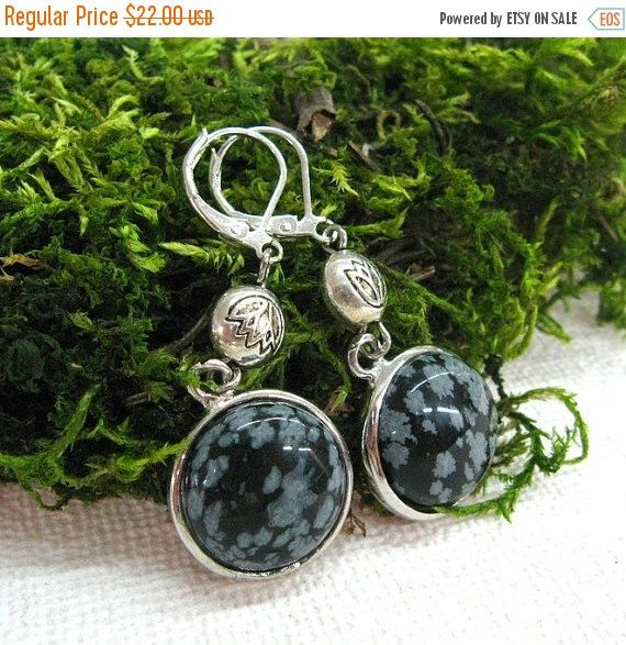 Your BEST GIFT Snowflake Obsidian Disc Earrings Long Round Dangle Earring Black Gray gemstone coin beads with silver plated accents  Valenti
