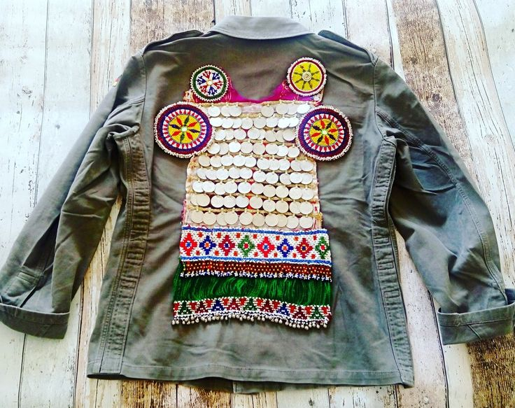 German army military jacket Vintage 70-90, are customized exclusively with authentic textiles and tribal jewelry unique and exclusive vintage. No two jackets alike. Each is unique and exclusive. Jewelry authentic style.Immediate availability