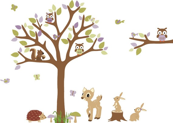 Owl Tree Forest Animals Woodland Animals Nursery Wall