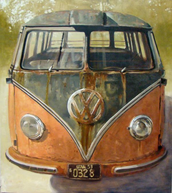 Barndoor Deluxe 55, Oil on Panel, Santiago Michalek, VW painting, Volkswagen painting, Bus painting, Oil Painting