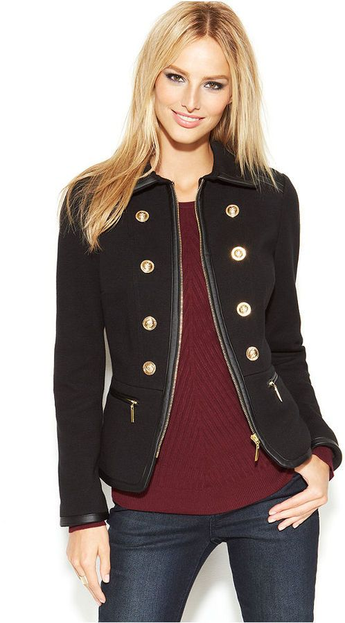 INC International Concepts Faux-Leather-Trim Military Jacket is on sale now for 25 % off....love this!