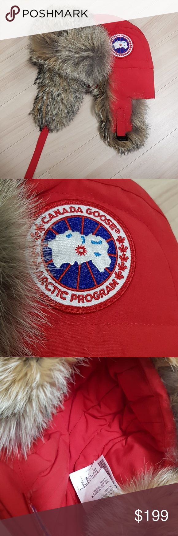 Auth canada goose aviator hat with coyote fur s-m Size s-m  Authentic..i just dont use it took the tag off never been used..new without tag condition...closet cleaning.... Canada Goose Accessories Hats