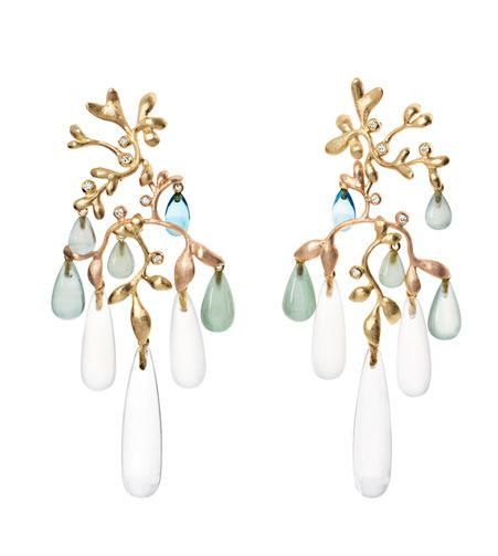 Ole Lynggaard Copenhagen Lotus Gypsy Chandelier Earrings with Rock Crystal, Milky Quartz, Green Aquamarine, Blue Topaz cabochon drops and diamonds set in 18ct yellow and rose gold - Kennedy Jewellers