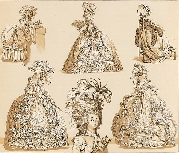 "various French hats from 1774-1785 (Illustrations by August Racinet from ""The Complete Costume History"")"