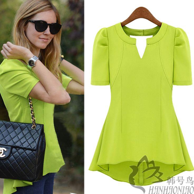2013 de verano de moda camisa de la mujer de nen de color verde blusa de color rosa blusas corto elegante blusas de gasa de la cintura delgada peplum superior ms el tamao