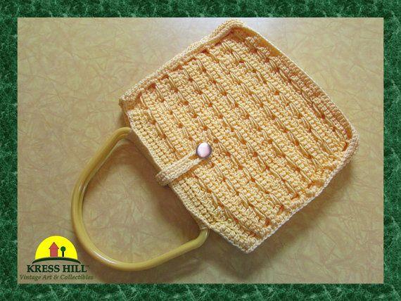 Yellow Macrame Purse Handbag Handmade Yellow by KressHillVintage