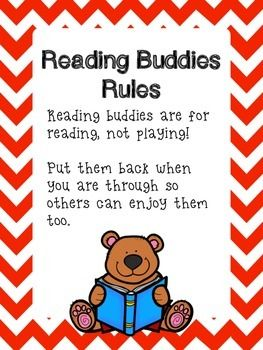 Some students need a little motivation to begin reading in the classroom or the library.  Reading Buddies, small stuffed animals, can be that motivation.  However, students can easily make the choice to play with the buddies rather than read to them.  This reading buddies poster and rules poster can help keep students on task.