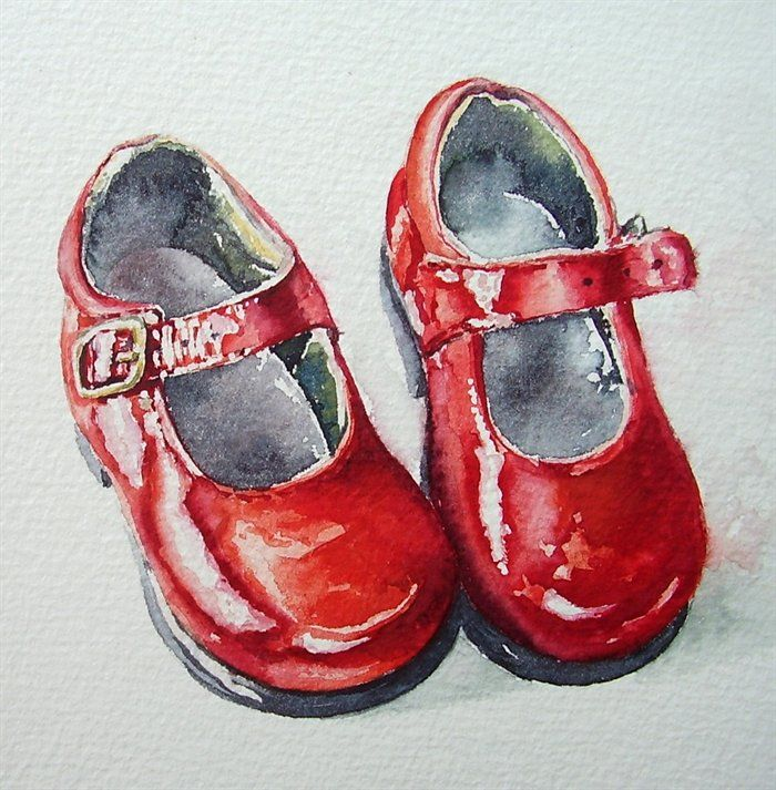 red shoes by Fran McGarry. watercolor.